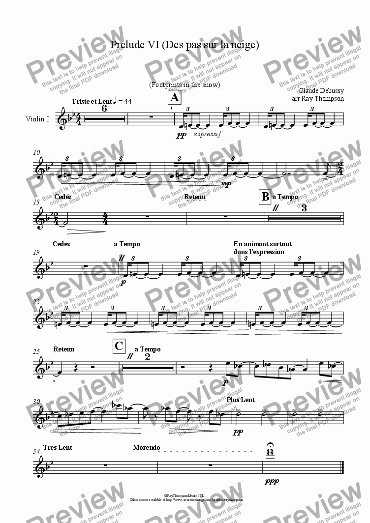 page one of the Violin I part from Piano Preludes Book 1: 6. De pas sur la neige (Footprints in the snow)
