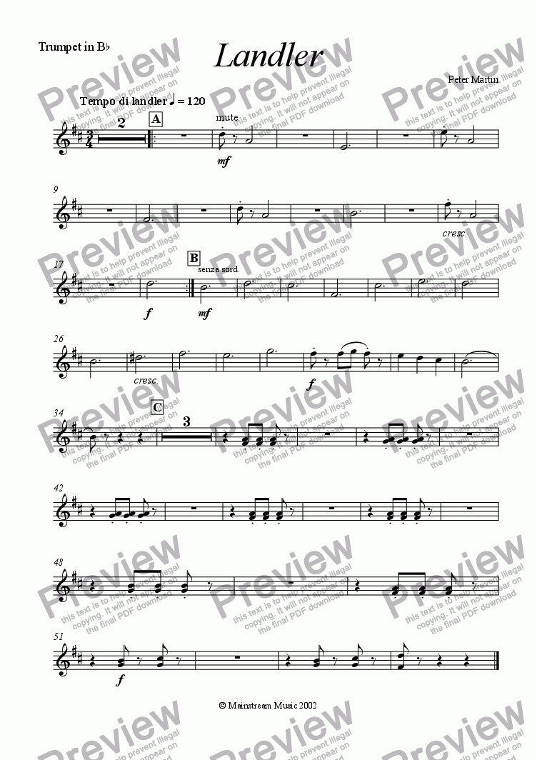 page one of the Trumpet in Bb part from Landler