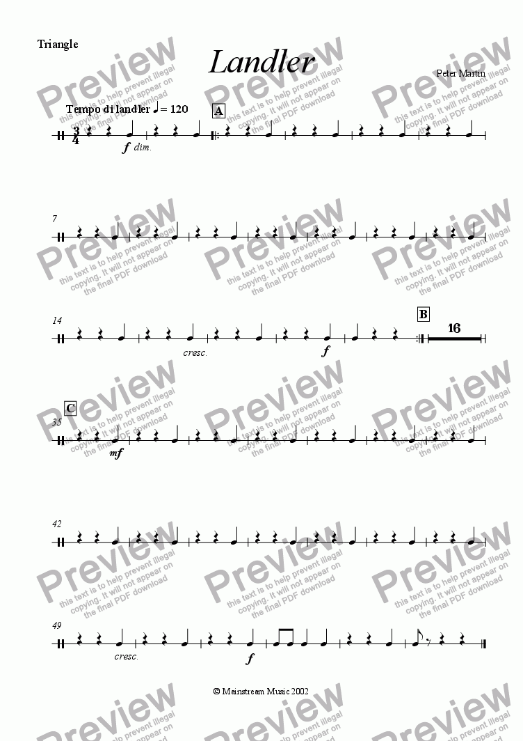 page one of the Percussion 1 part from Landler