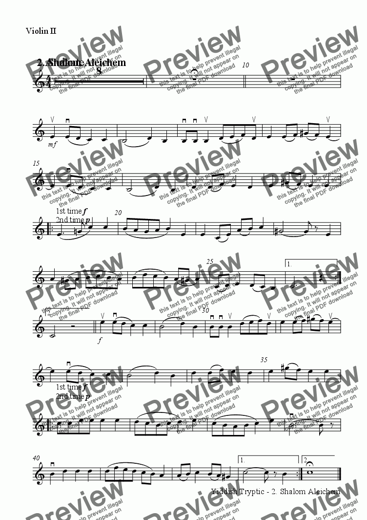page one of the Violin II part from Yiddish Tryptic - 2. Shalom Aleichem