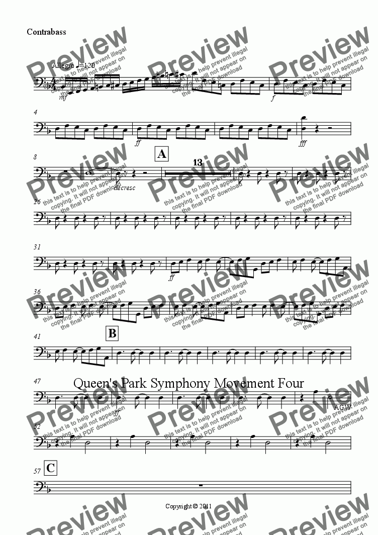 page one of the Contrabass part from Queen's Park Symphony Movement 4