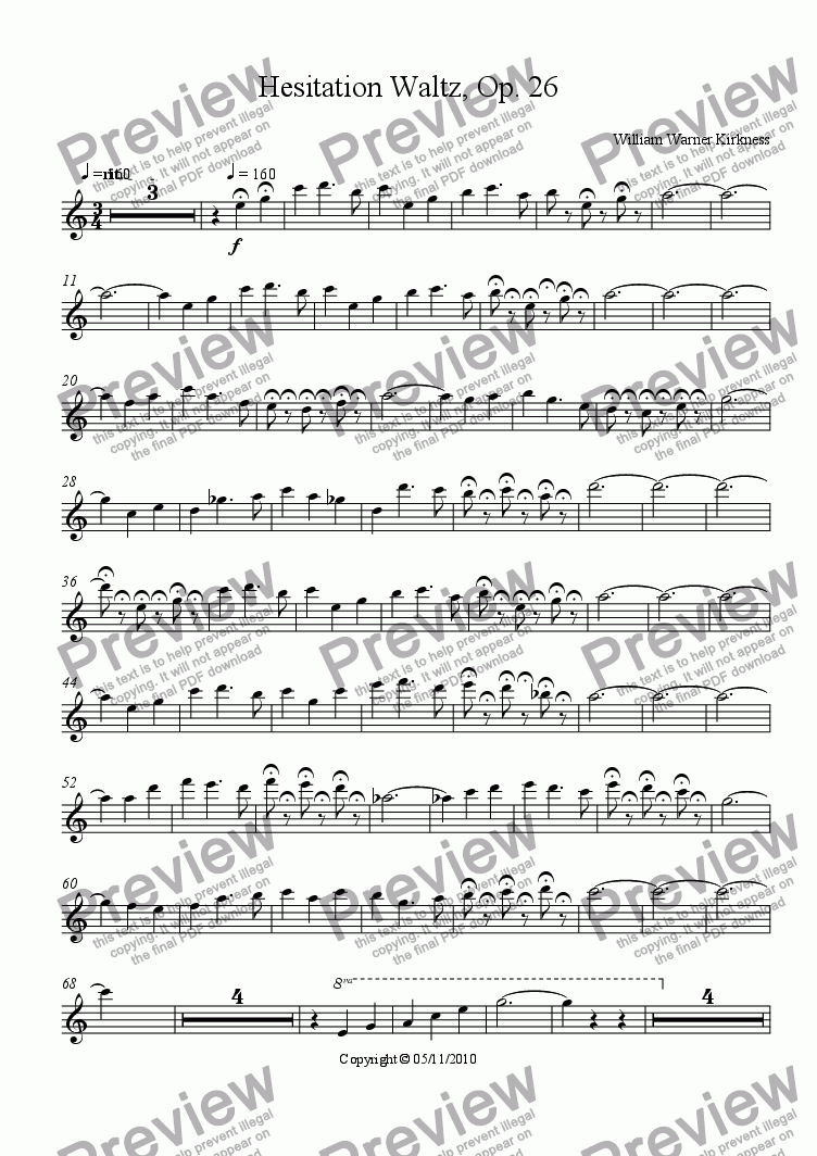 page one of the Violin part from Hesitation Waltz, Op. 26