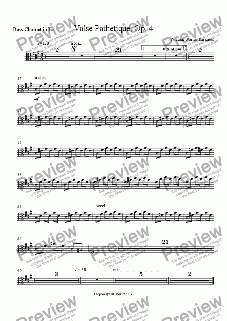 page one of the Bass Clarinet in B^b part from Valse Pathetique, Op. 4