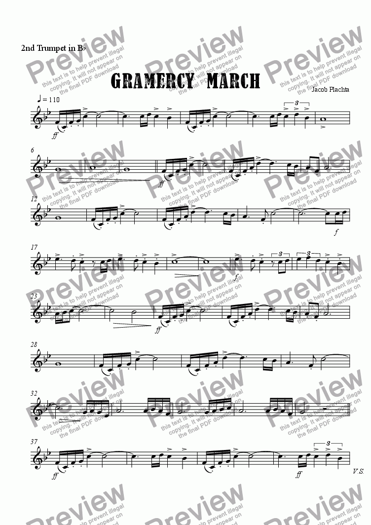 page one of the 2nd Trumpet in B^b part from Gramercy March