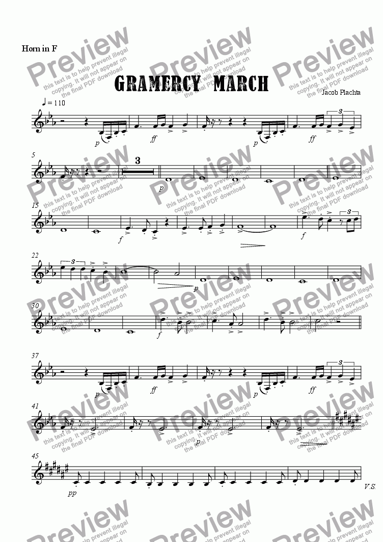 page one of the Horn in F part from Gramercy March
