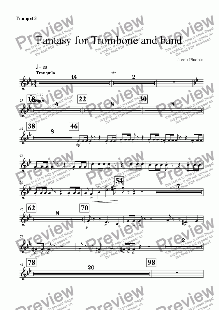 page one of the Trumpet 3 part from Fantasy for Trombone and Band