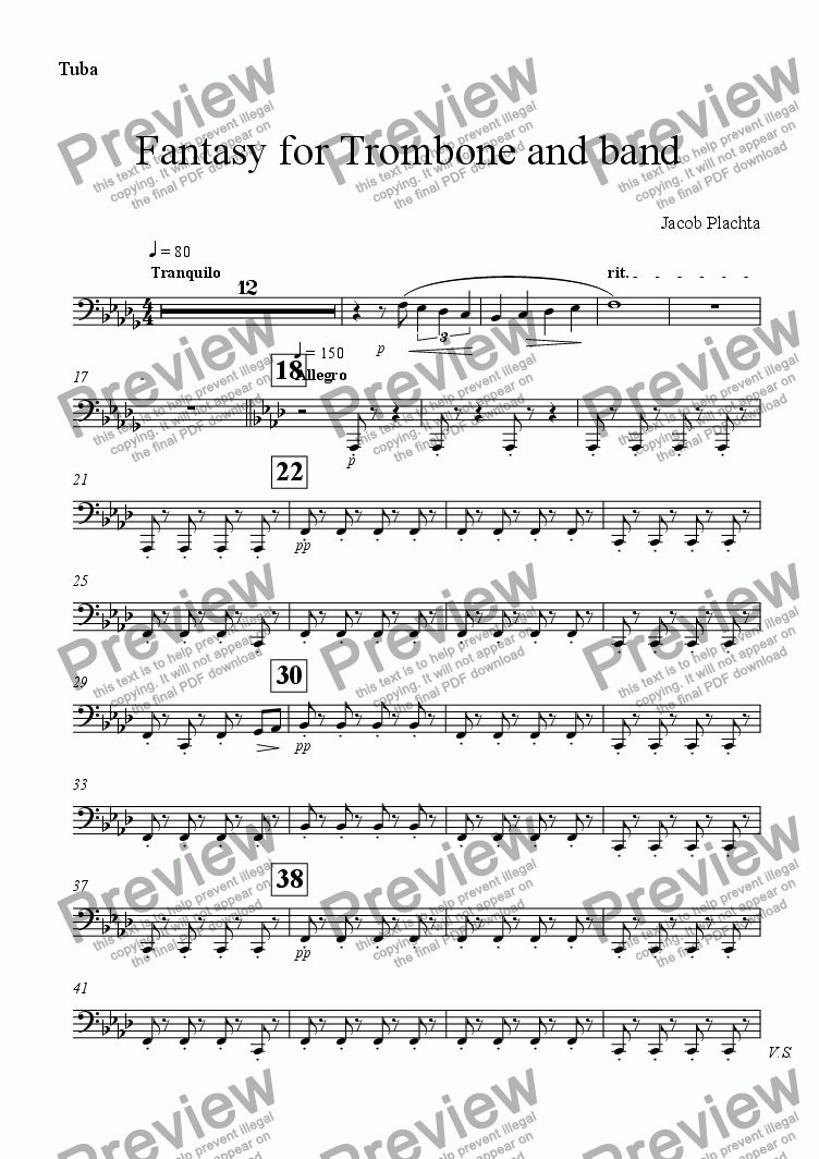 page one of the Tuba part from Fantasy for Trombone and Band