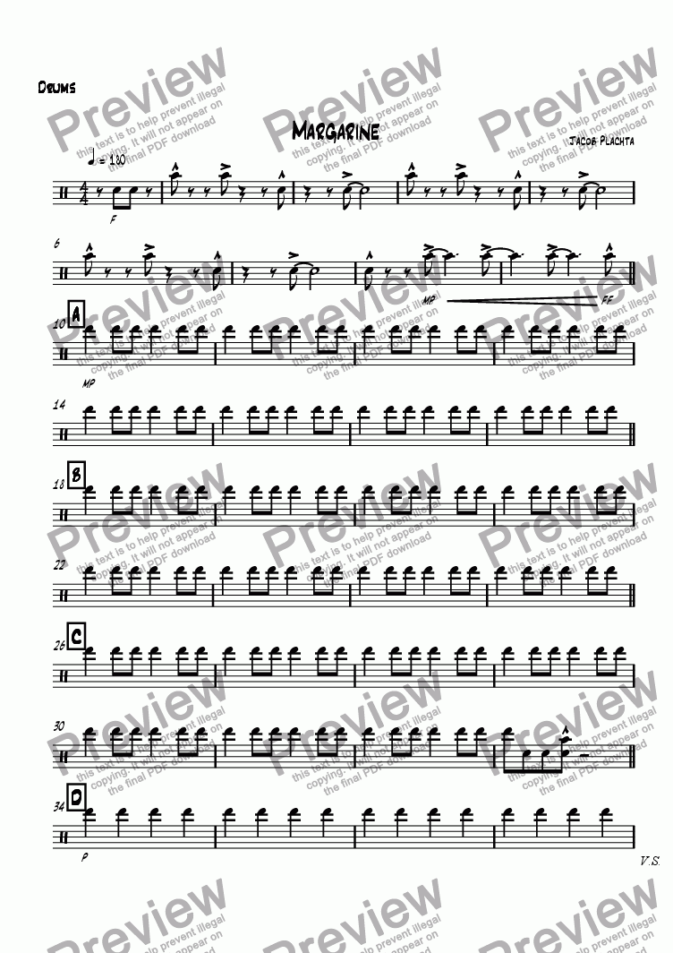 page one of the Drums part from Margarine