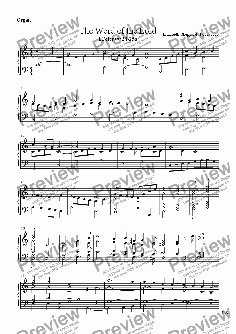 page one of the Organ part from The Word of the Lord