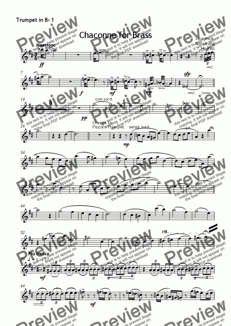 page one of the Trumpet in B^b 1 part from Chaconne for Brass