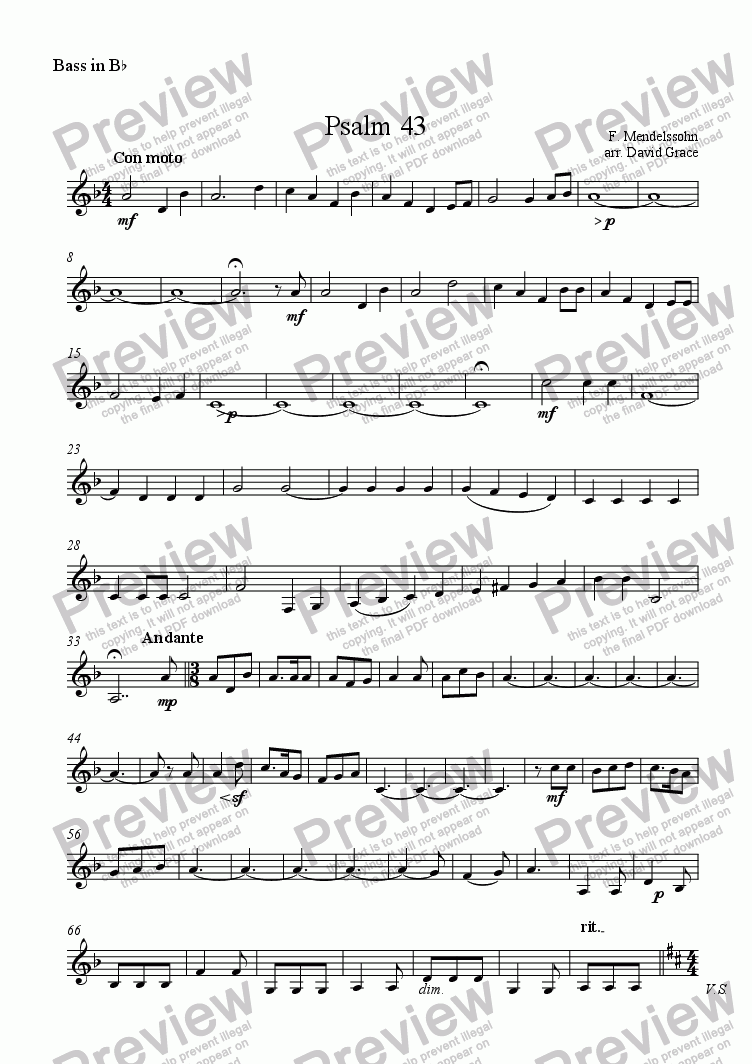 page one of the Bass in B^b part from Psalm 43 [Mendelssohn]