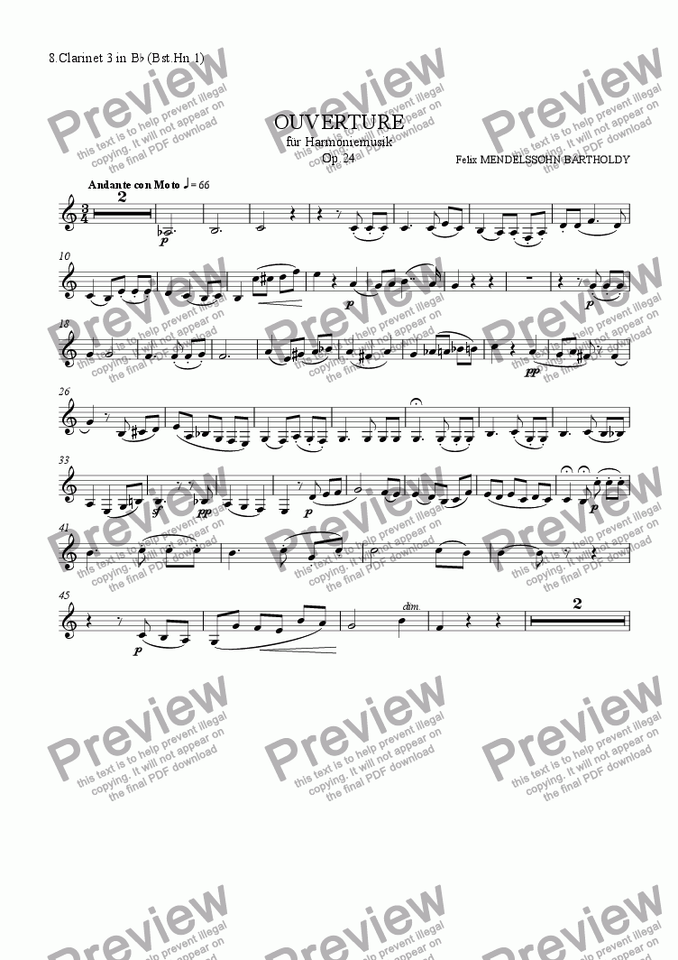 page one of the 8.Clarinet 3 in B^b (Bst.Hn 1) part from Mendelssohn: Overture for Winds Op.24
