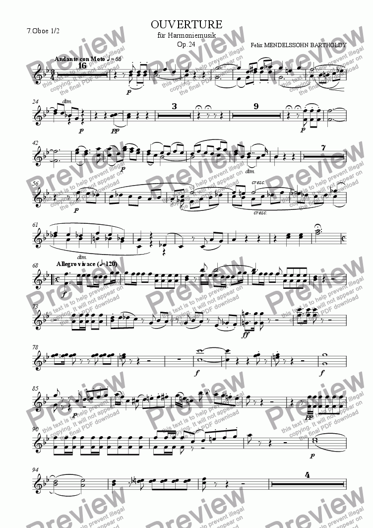page one of the 7.Oboe 1/2 part from Mendelssohn: Overture for Winds Op.24