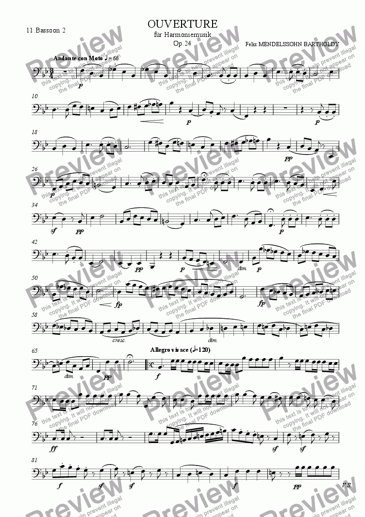 page one of the 11.Bassoon 2 part from Mendelssohn: Overture for Winds Op.24