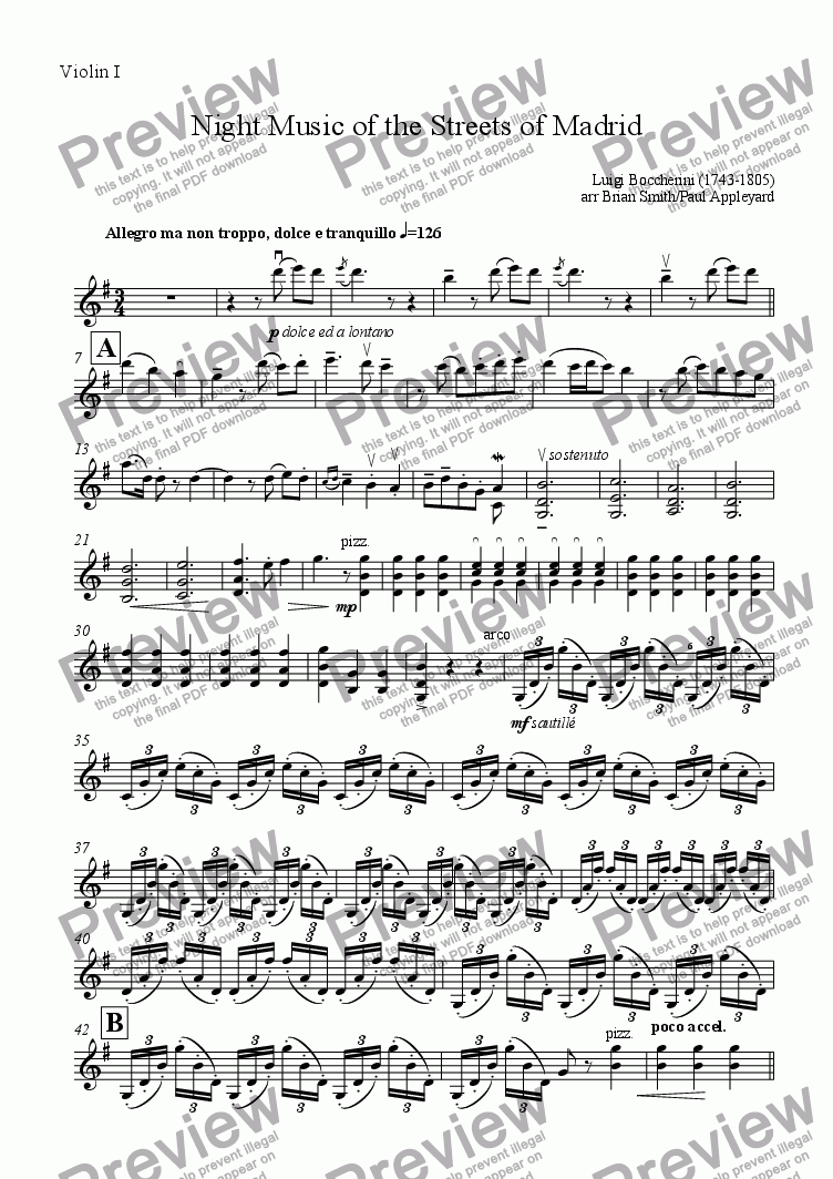 page one of the Violin I part from Il Musica Notturna della Strade di Madrid