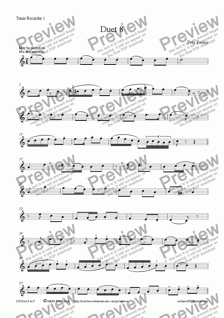 page one of the Instrument 1 part from Duet 8 in C (Rec or Flute)