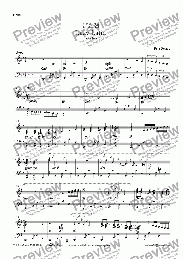 page one of the Piano part from Lazy Latin (rec or Flute)