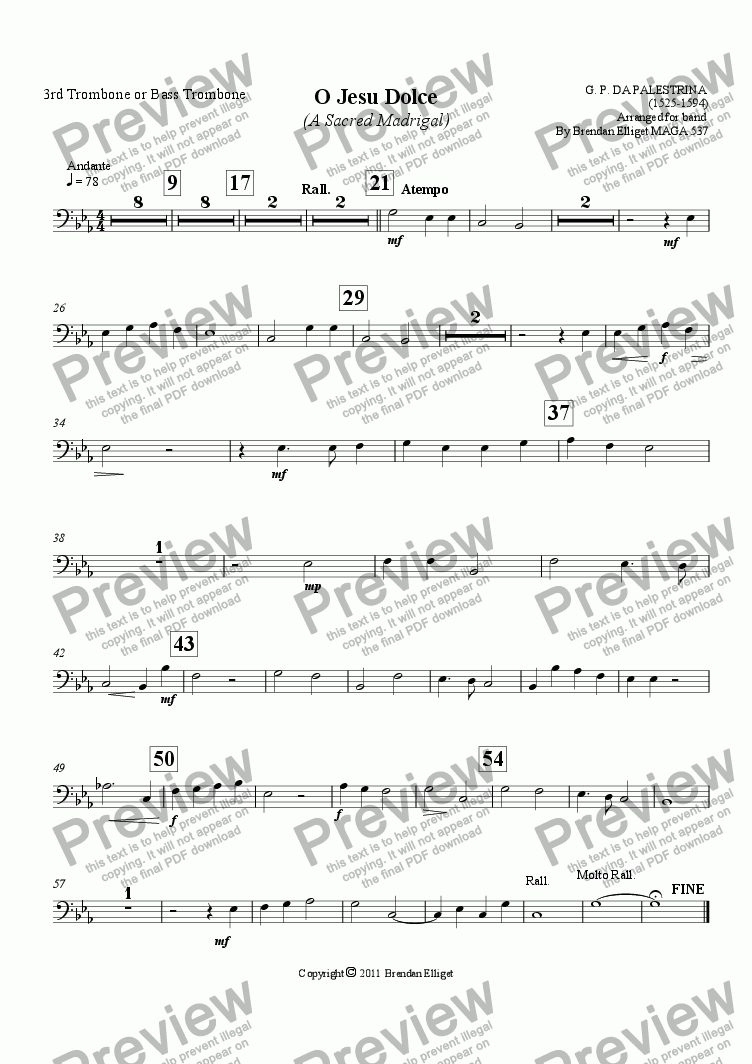 page one of the 3rd Trombone or Bass Trombone part from O Jesu Dolce (A Sacred Madrigal)