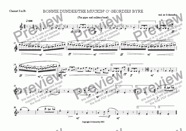 page one of the Clarinet 3 in Bb part from Bonnie Dundee/The Muckin' o' Geordie's Byre