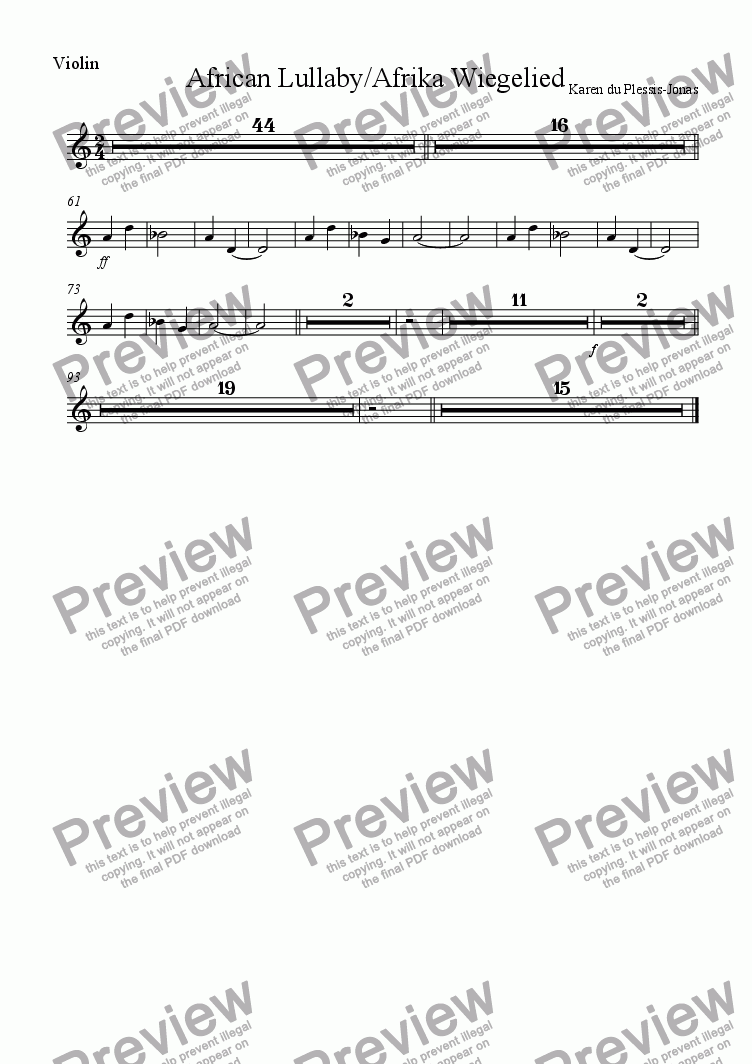 page one of the Violin part from AFRICAN LULLABYE / AFRIKA WIEGELIED