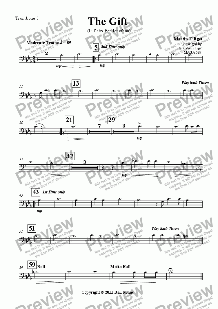page one of the Trombone 1 part from The Gift (Lullaby For Jonathan)-Concert Band