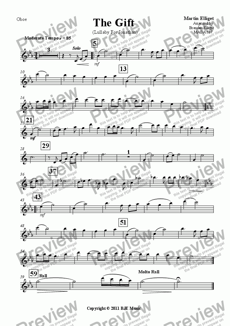 page one of the Oboe part from The Gift (Lullaby For Jonathan)-Concert Band