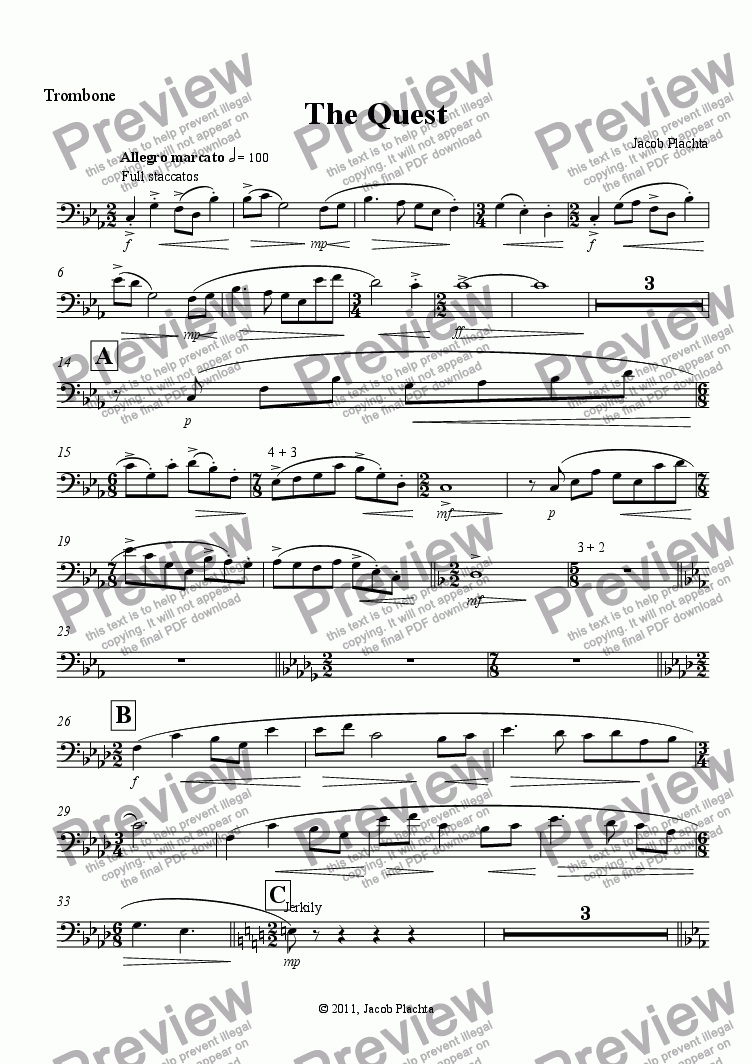 page one of the Trombone part from The Quest