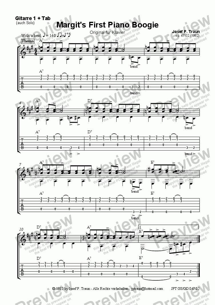 page one of the Gitarre 1 (Solo/Tab) part from Margit's First Piano Boogie (GS/GD)