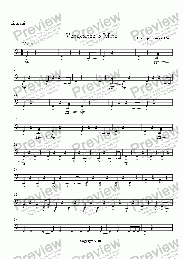 page one of the Timpani part from Vengeance is Mine