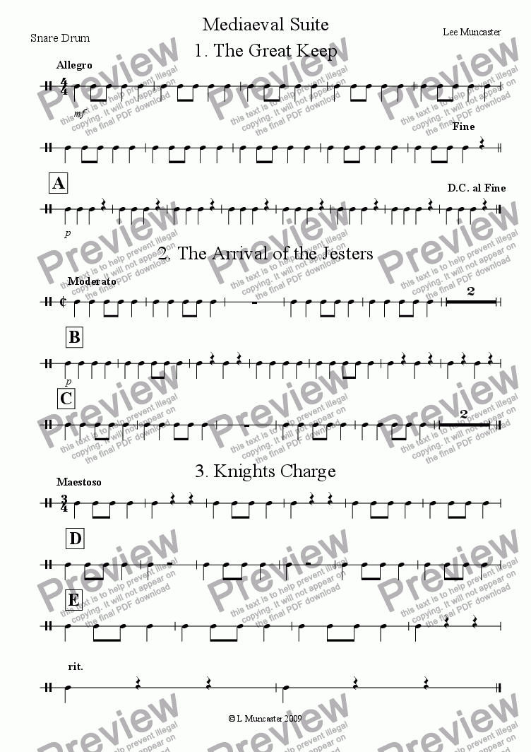 page one of the Snare Drum part from Mediaeval Suite (Very Beginner Wind Band)