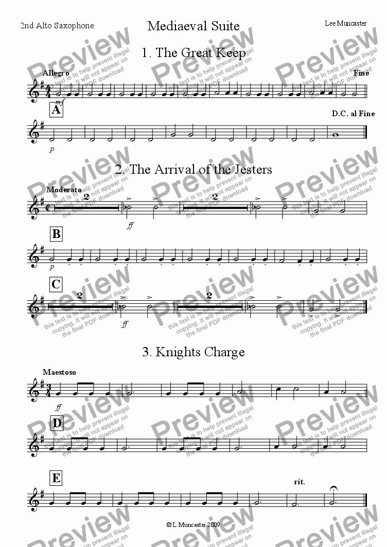 page one of the 2nd Alto Saxophone part from Mediaeval Suite (Very Beginner Wind Band)