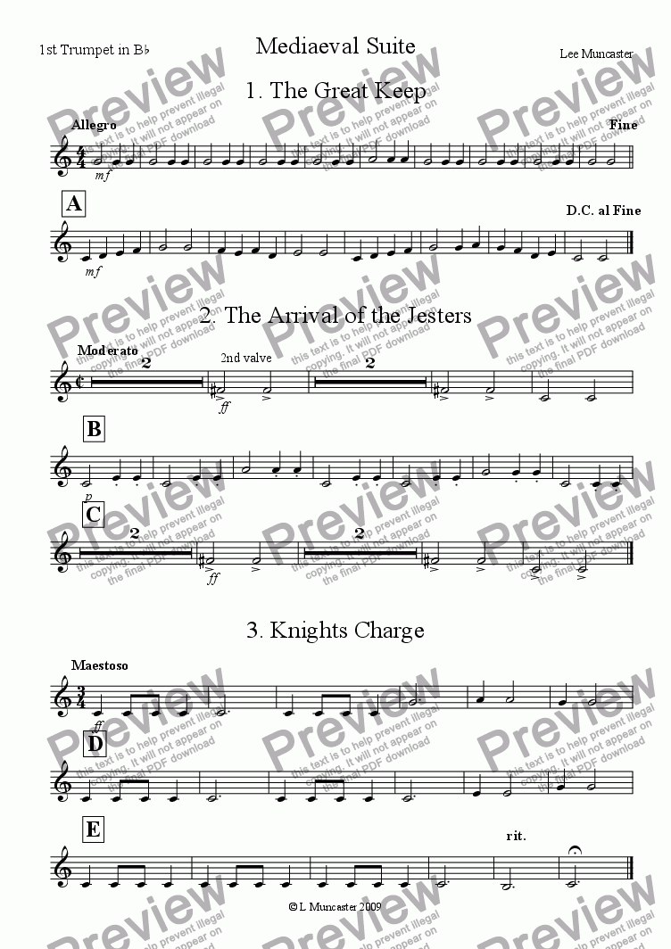 page one of the 1st Trumpet in B^b part from Mediaeval Suite (Very Beginner Wind Band)