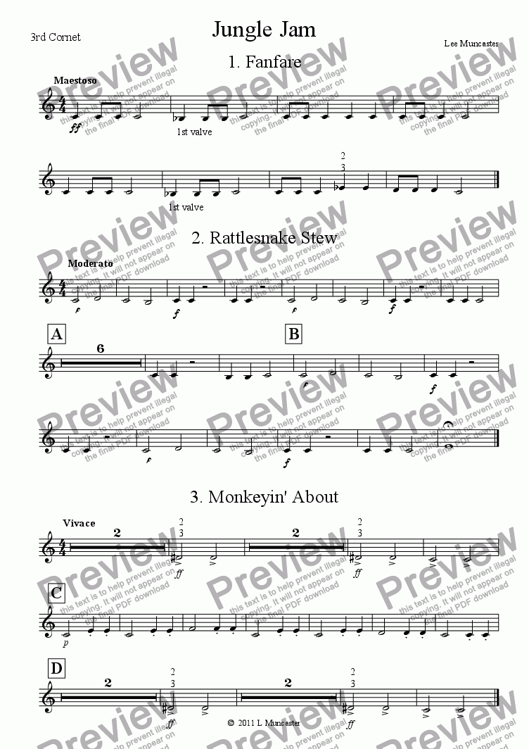 page one of the 3rd Cornet part from Jungle Jam Suite (6 pieces for Beginner Brass)