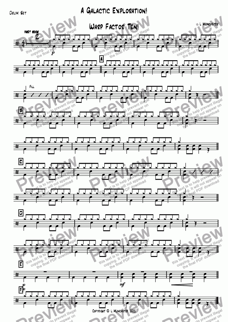 page one of the Drum Set part from A Galactic Exploration! (4 Pieces for Junior Wind Band)