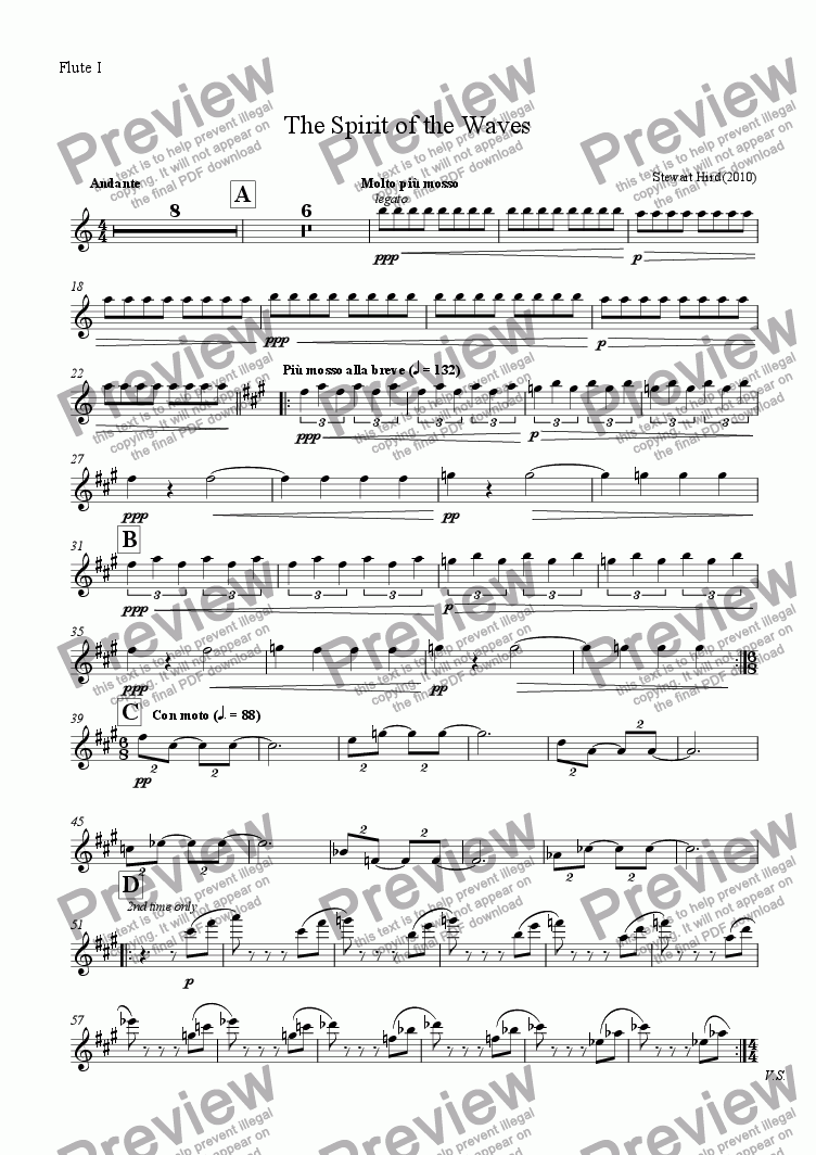page one of the Flute I part from The Spirit of the Waves