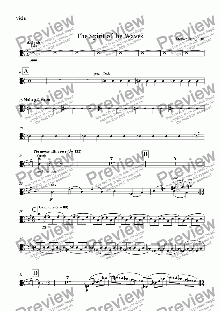 page one of the Viola part from The Spirit of the Waves