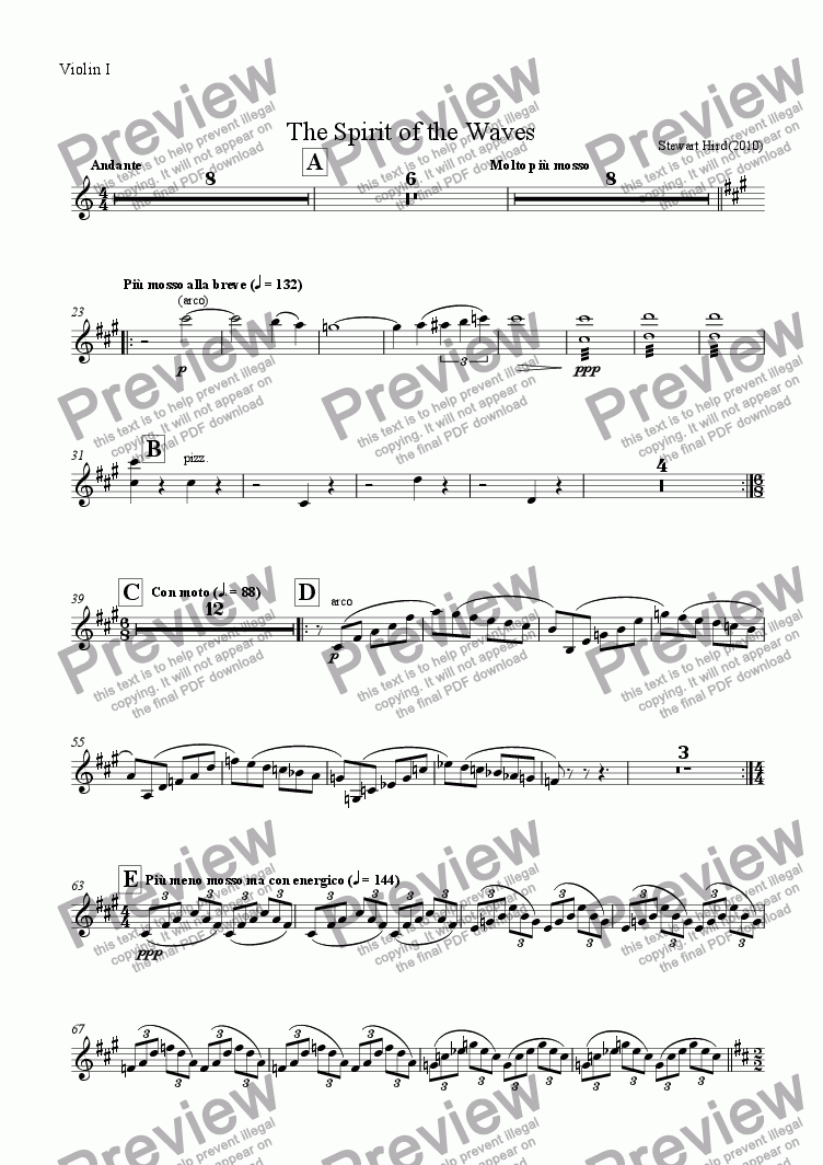 page one of the Violin I part from The Spirit of the Waves