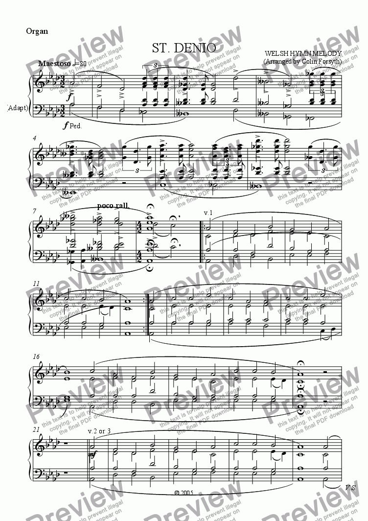 page one of the Organ part from ST. DENIO