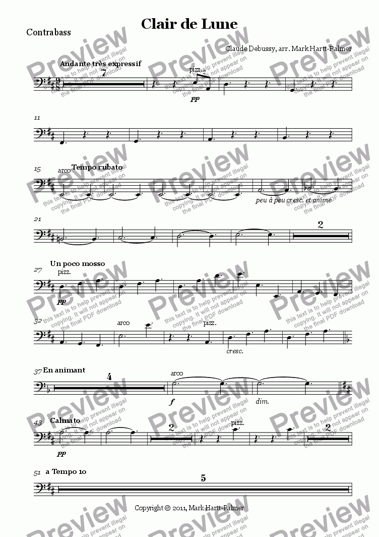 page one of the Contrabass part from Clair de Lune