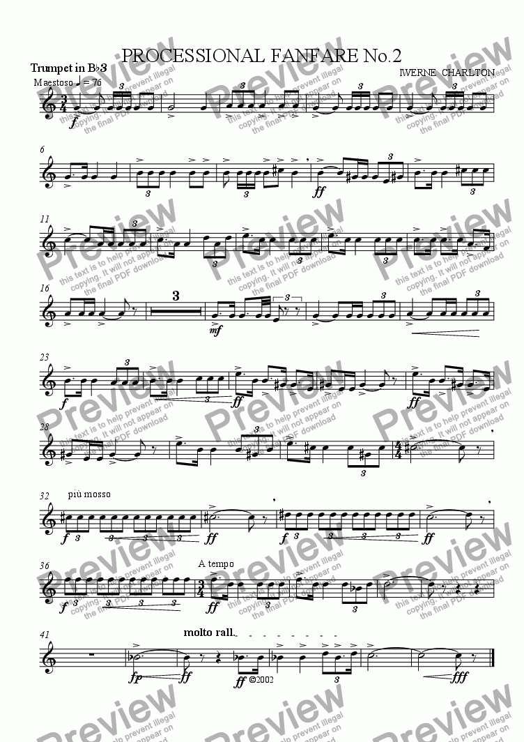 page one of the Trumpet 3 part from Processional Fanfare No 2