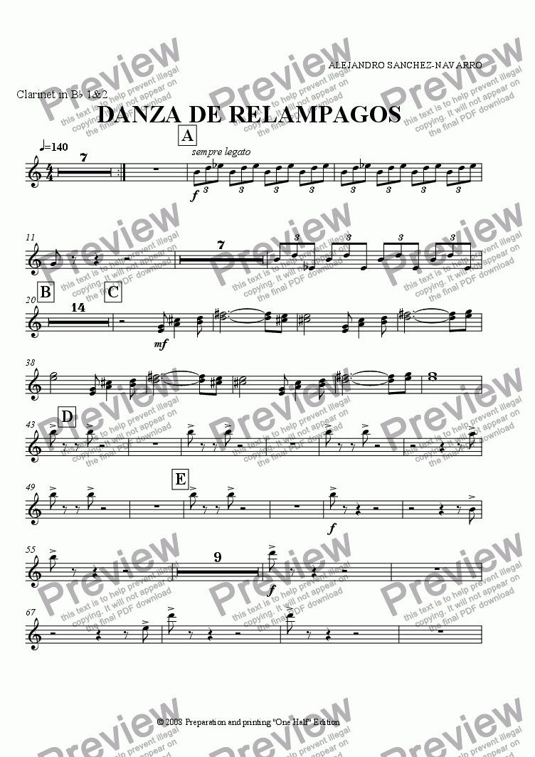 page one of the Clarinet in B^b 1&2 part from THUNDERLIGHT