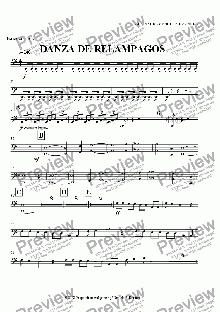 page one of the Bassoon 1&2 part from THUNDERLIGHT