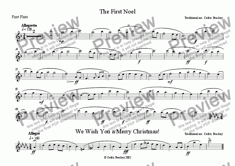 page one of the First Flute part from Ye Olde Carol-Singers' Compendium - The First Noël