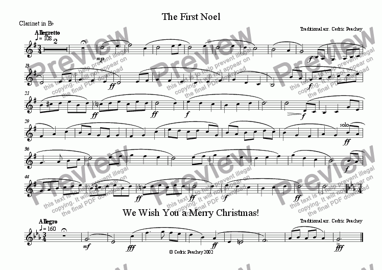 page one of the Clarinet in Bb part from Ye Olde Carol-Singers' Compendium - The First Noël