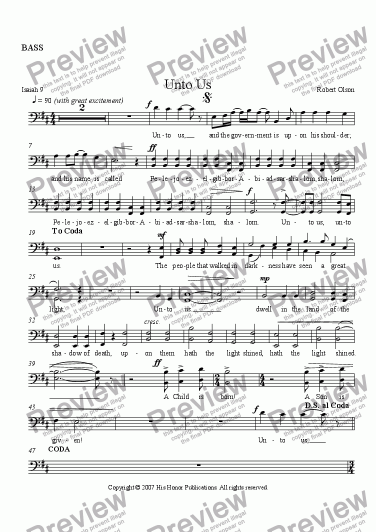 page one of the BASS part from Unto Us