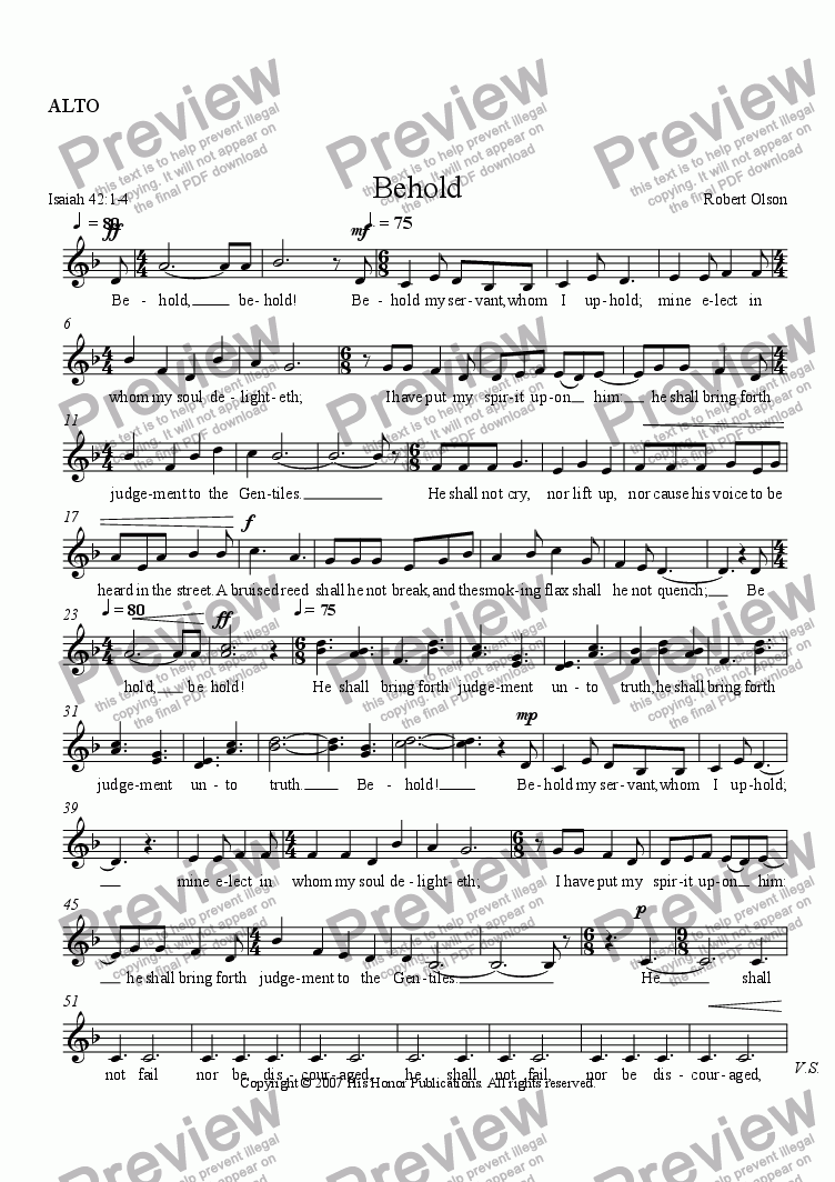 page one of the ALTO part from Behold