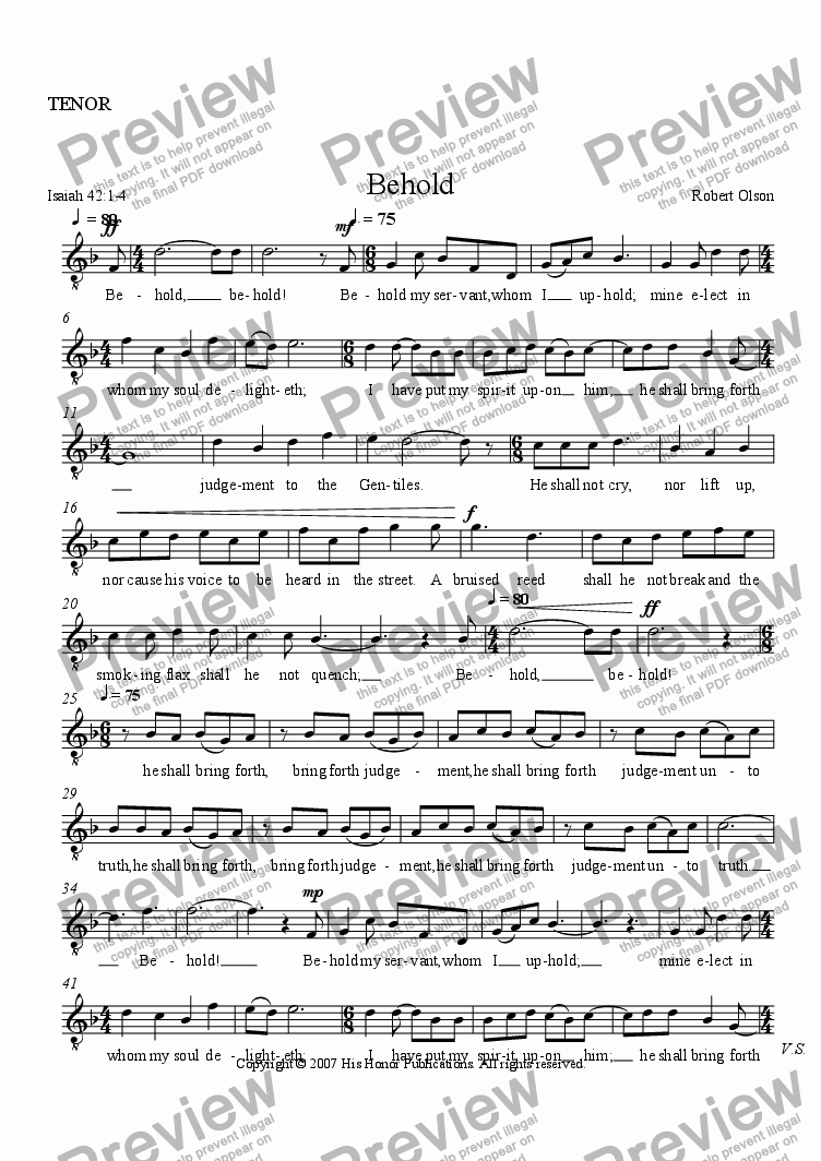 page one of the TENOR part from Behold