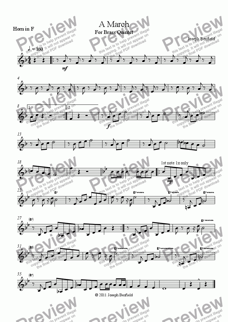 page one of the Horn in F part from A March
