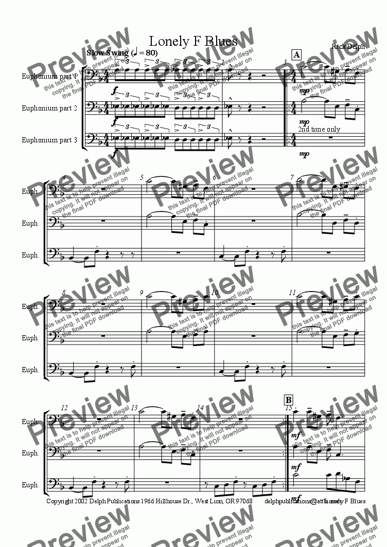 page one of the Euphonium part from Lonely F Blues (Jazz Combo)