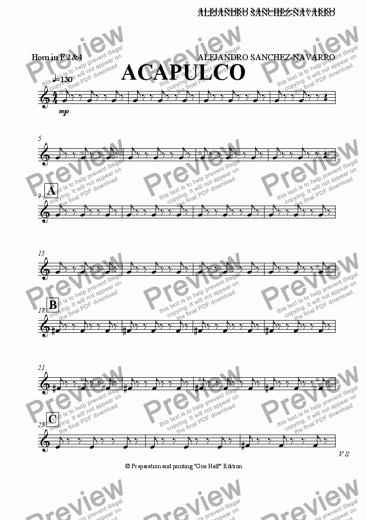 page one of the Horn in F 2&4 part from ACAPULCO